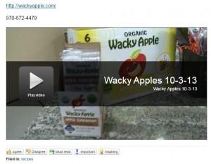 Wacky Apple on Colorado's Best Applesauce Chocolate Chip Cookies